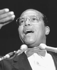 Louis Farrakhan. Reproduced by permission of the Corbis Corporation.