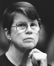 Janet Reno. Reproduced by permission of the Corbis Corporation.