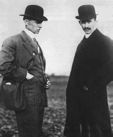 Wilbur Wright (left) and his brother Orville. Reproduced by permission of AP/Wide World Photos.