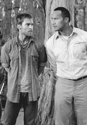 Sean William Scott (left) and Dwayne The Rock Johnson in a still from the movie The Rundown (2003). Universal/Columbia/The Kobal Collection/Aronowitz, Myles.