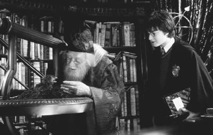 Richard Harris (left) as Dumbledore and Daniel Radcliffe in a scene from Harry Potter and the Chamber of Secrets. The Kobal Collection.
